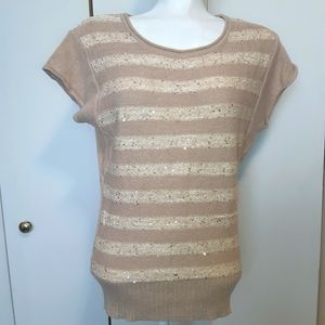 Guess   striped sequined short sleeve knit top